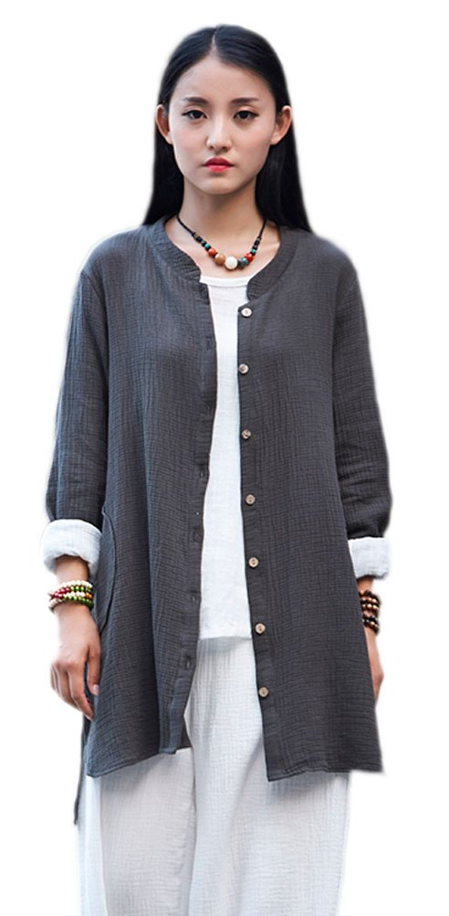 Soojun Women's Loose Fit Button Down Linen Cotton Cardigan Shirts Coat Dark Olive Green, X-Large