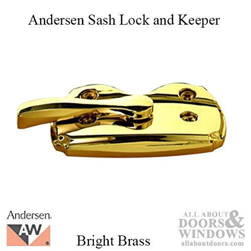 Andersen Woodwright Double Hung Windows Sash Lock & Keeper Set - Bright Brass