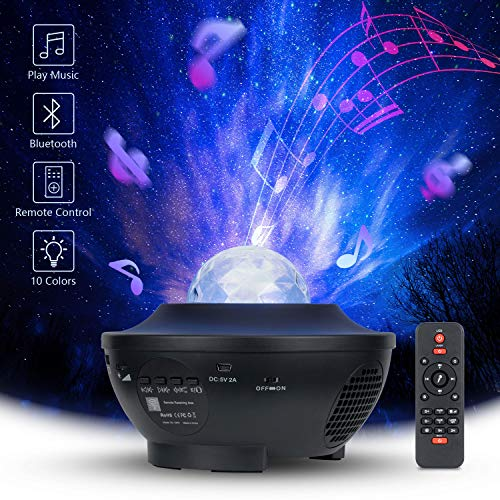 Star Projector Light, 3 in 1 Galaxy Projector Night Light Projector for Bedroom/Game Room/Nebula Cloud Light with Bluetooth Music Speaker and Remote Control for Kids, Adults