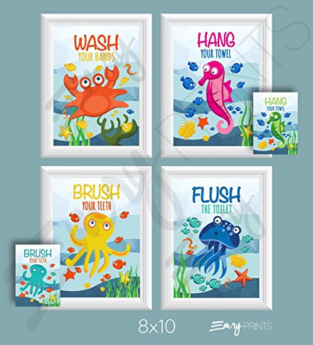 Ocean Bathroom Art Prints (Set of 4) 8x10 - Underwater Bathroom Wall Art Prints Children's Underwater Bathroom Ocean Theme Bathroom Wall Art 8x10 (Brush Flush Hang & - Theme Art Childrens