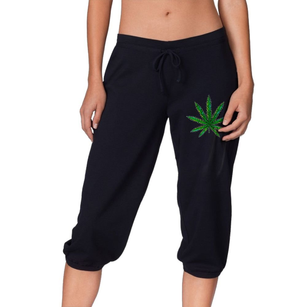Women's Novelty Performance Marijuana Leaf Print Crop Sweatpant Capri Pants Drawstring Legging Pants Black Small