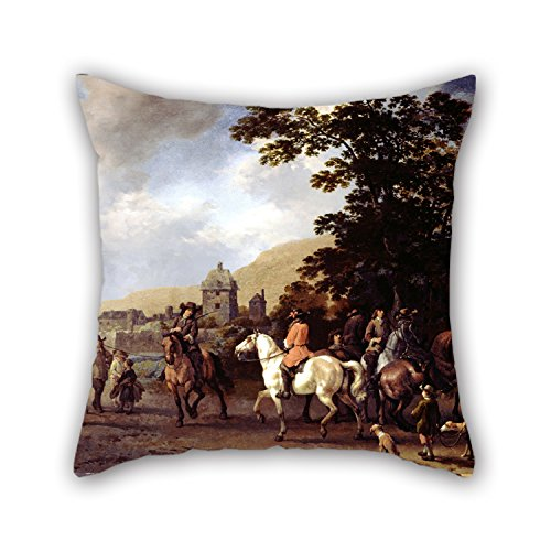 Slimmingpiggy Oil Painting Van Calraet, Abraham - A Riding School In The Open Air Throw Cushion Covers 18 X 18 Inches / 45 By 45 Cm Best Choice For Couch,kids Room,son,family,festival,christmas Wit (George Mcfly Costume)