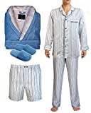 Armani International, Coordinated Pajamas Boxer Shorts Lounge Bath Robe Set X-Large Blue