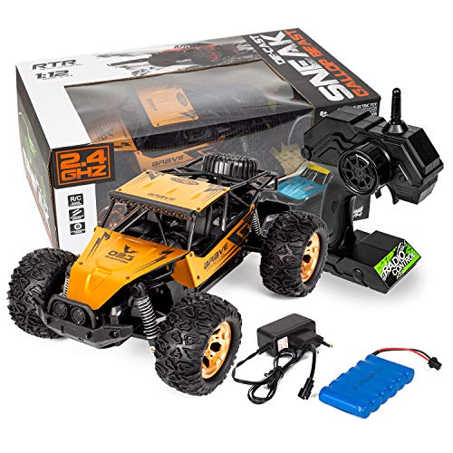 (Buenotoys 1:12 Scale 2.4Ghz Remote Control High Speed All Terrain Monster Desert Buggy Vehicle 2WD Electric Racing Car 15 MP/H High Speed RTR RC Cars Toy Kids)