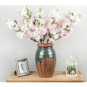 Skyseen 3Pcs Lilac Silk Flower Artificial Syringa Linn Arrangement,Pink 27