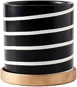 Flower pot Bermnn Nordic style black and white striped flower pot, succulent green plant flower pot, modern minimalist Nordic style, beautiful home ceramic flower pot, office desk decoration supplies