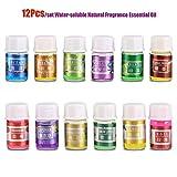 Garosa 12 Unids/Set Aceite Esencial de Fragancia Natural Kit de Relajación Soluble En Agua 100% Puro Terapia de Plantas Orgánicas Aromaterapia Difusores Aceites para Humidificador