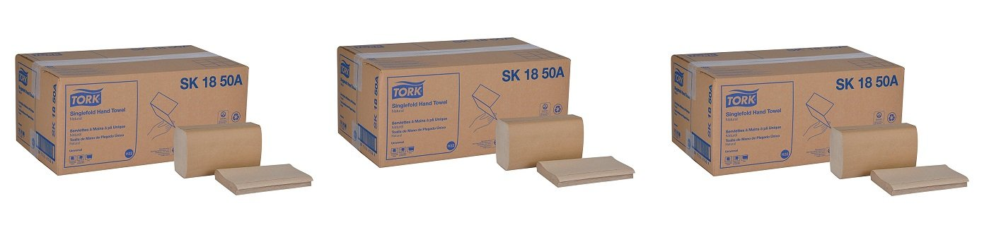 Tork Universal SK1850A Singlefold Paper Hand Towel, 1-Ply, 9.125'' Width x 10.25'' Length, Natural, Green Seal Certified (Case of 16 Packs, 250 per Pack, 4,000 Towels) (3-(Case of 16 Packs))