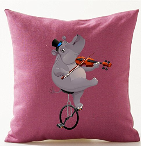 Ride Violin - Duodoo Funny Lovely Animals Abstract Adorable Hippopotamus Ride A Bicycle Play The Violin Cotton Linen Throw Pillow Case Personalized Cushion Cover Home Office Indoor Decorative Square 18 X 18 Inches