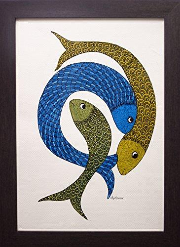 Kalavithi Original Handpainted Framed Gond Tribal Painting- Mystic Three Fish