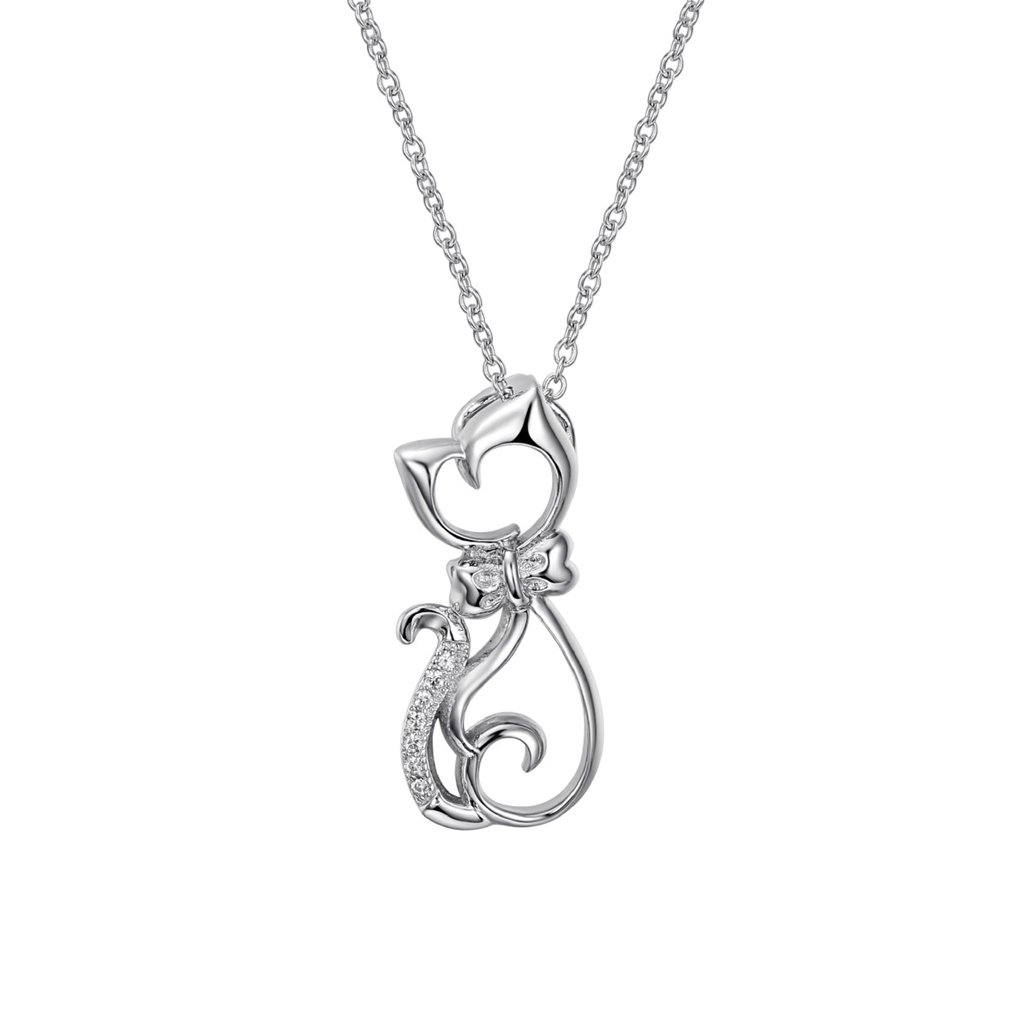Fine Jewelry Sterling Silver Elegant Animal Cat Charm Pendant Necklace, 18 inches (Cat style 1) by SILVERLUXY