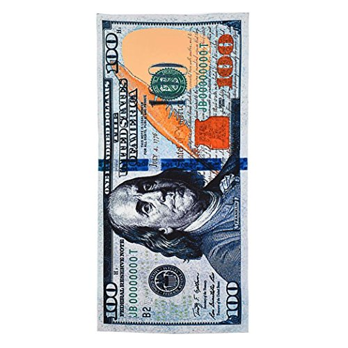 (Auwer New 100 Dollar Bill Pattern Velour Beach Towel Throw Tapestry Wall Art Hanging Pool Home Shower Towel Blanket Tablecover Roundie Yoga Mat Picnic Mat Bedspread Collage Dorm 30x60 inches)