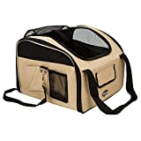 LOUHO Pet Dog Car Booster Seat Ultra-lock Collapsible Safety Travel Wire Folding Car Dog Carrier (S, Khaki)