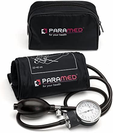 Professional Manual Blood Pressure Cuff – Aneroid Sphygmomanometer with Durable Carrying Case by Paramed – Lifetime Calibration for Accurate Readings – Black