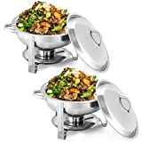 Giantex 2 Packs Chafing Dish 5 Quart Stainless Steel Chafer for Home Commercial Kitchen Party Catering Buffet Warmer Set w/Round Full Size Pan, Fuel Holder