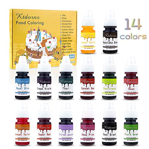 Homemade Halloween Food (Food Coloring-14 Color Variety Kit-cake food coloring liquid Variety Kit for Food color Baking, Decorating,Fondant and Cooking, Slime Making Supplies Kit - .25 fl. oz.)