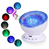 Ocean Wave Projector, T-Sun 12 LEDs & 7 Color Changing Modes Lights with Remote Control Built-in Music Player, Adjustable Relaxing Light for Baby Nursery, Living Room, Bedroom