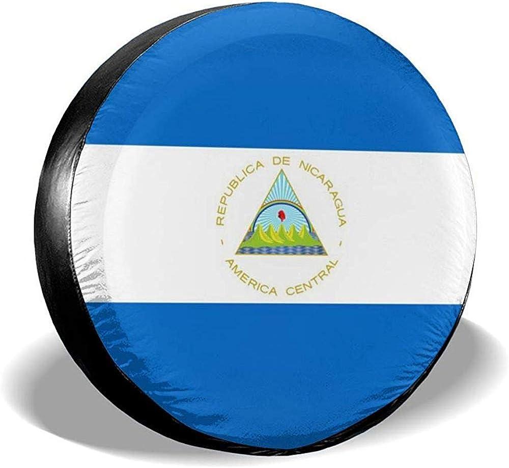 MOLLUDY 15 pulgadas, bandera de Nicaragua.jpg Cubierta de llanta de repuesto Cuero Impermeable A prueba de polvo Universal