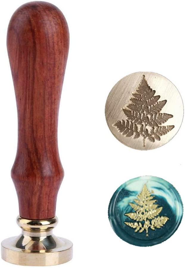 Fern Leaf Wax Seal Stamp, Sunsoar Botanical Brass Head with Wooden Handle Removable Sealing Stamp for Wedding Invitations Envelope Wine Packages Art Craft Decor