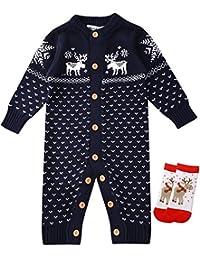 ZOEREA Unisex Newborn Baby Knitted Romper Christmas Sweaters+Socks Reindeer