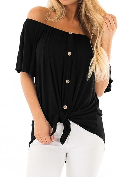 Amazon.com: EZBELLE Blusa túnica de manga larga con botones ...