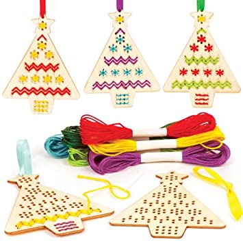 baker ross christmas tree wooden cross stitch decoration kits perfect for xmas childrens arts crafts