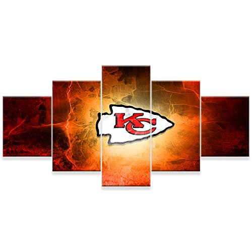 [LARGE] Premium Quality Canvas Printed Wall Art Poster 5 Pieces / 5 Pannel Wall Decor Kansas City Chiefs Painting, Home Decor Pictures - With Wooden Frame by PEACOCK JEWELS
