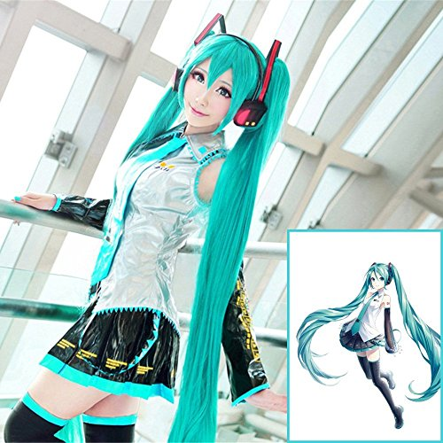 Vocaloid hatsune miku cosplay wig bans tip super long straight hair for 130 cm heat-resistant wigs costume Halloween, Christmas, events, festivals, such as fancy dress disguise]()