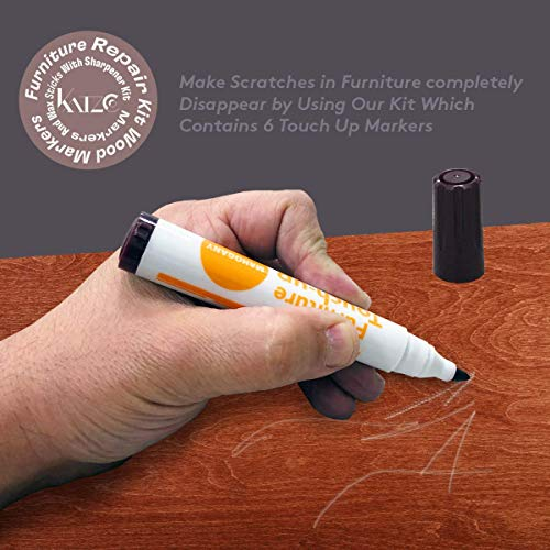Katzco Furniture Repair Kit Wood Markers - Set of 13 - Markers and Wax Sticks with Sharpener - for Stains, Scratches, Floors, Tables, Desks, Carpenters, Bedposts, Touch-Ups, Cover-Ups, Molding Repair