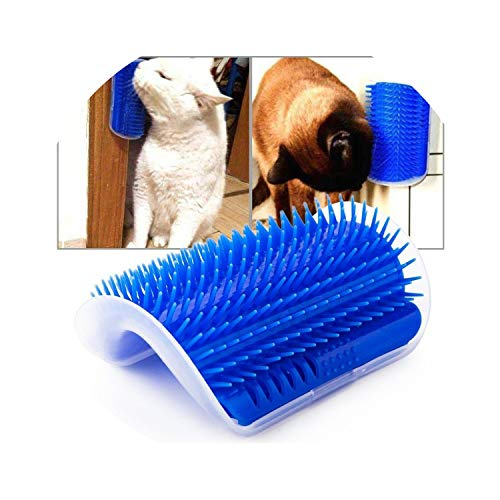dunical Pet Cat Self Groomer Grooming Tool Hair Removal Brush Comb for Dogs Cats Wall Corner Grooming Massage Comb Toy,Gray,12.5X8.5Cm