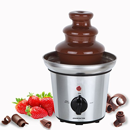 Ovente 2-Tier Chocolate Fountain Stainless Steel, 9 inch, Silver (CFS43S)