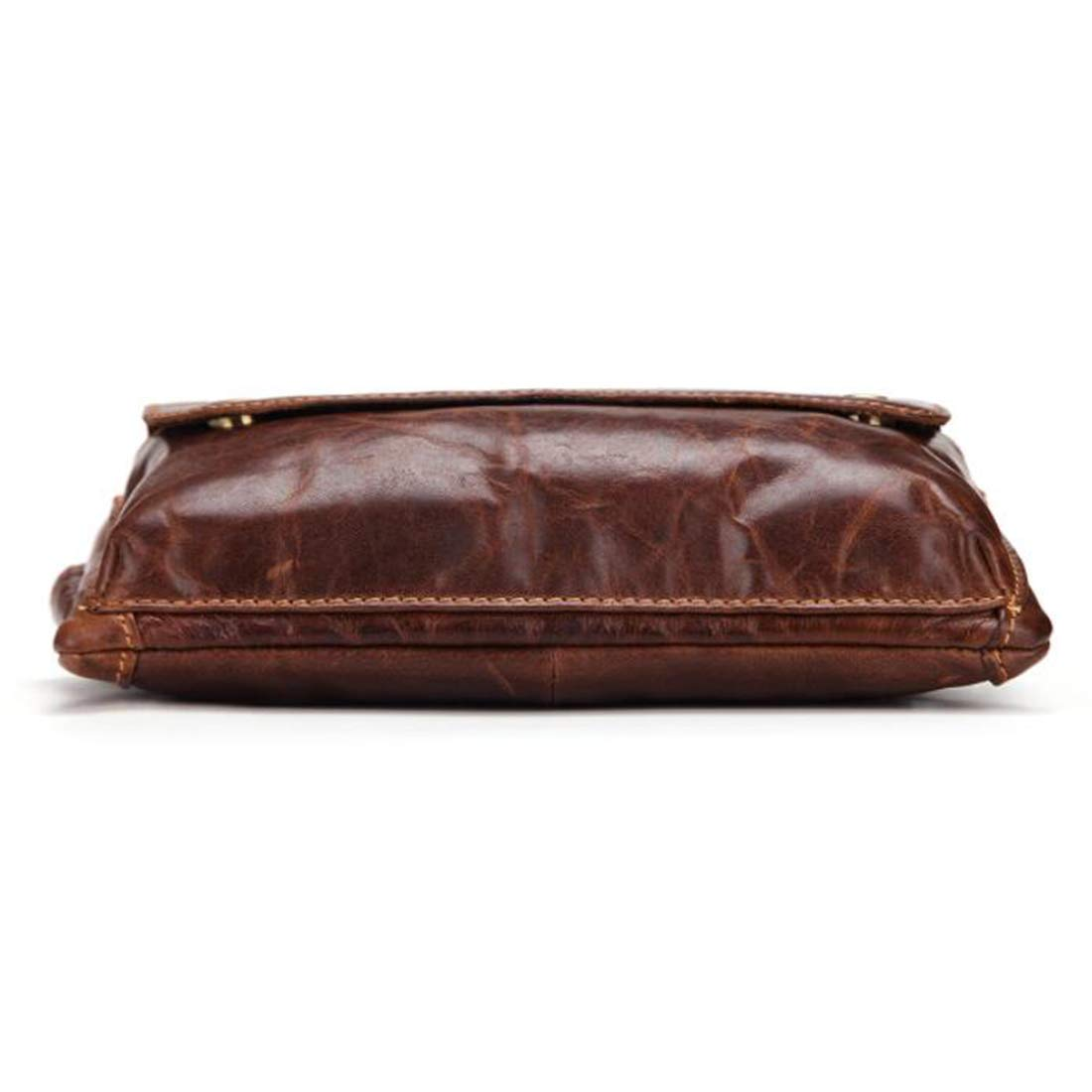 Color : Brown Carriemeow Body Bag Waist Bag Waist Pouch Mens Multi Function Genuine Leather