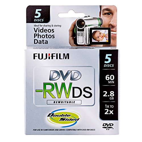 Price comparison product image Fujifilm 25322008 8cm DVD-RW 2.8GB Rewritable Double Sided DVD,  5-Pack