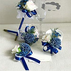 Bridesmaid Wedding Silk Rose Flowers Groom Boutonniere Bride Wrist Corsage Bracelet Party Decoration Brooch Hand Flowers 93