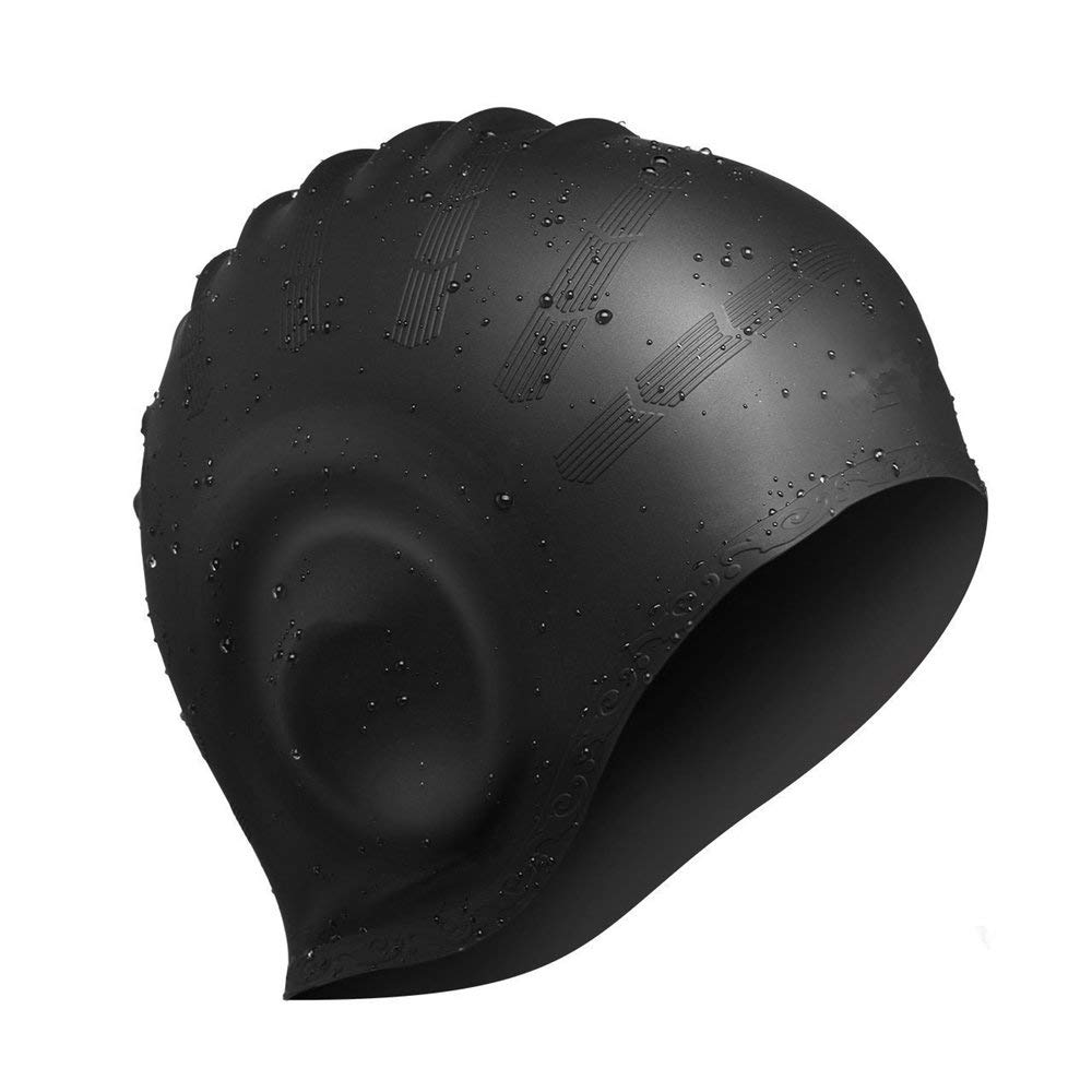 Xiaoai Swimming Cap, Waterproof Silicone Unisex Swimming Hat Long Hair Hat with Ear Cover for Women and Men for Water Sports (Black)