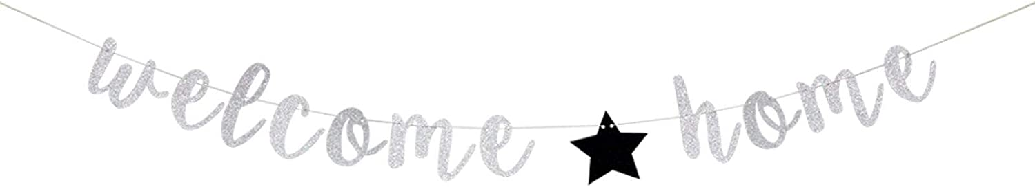 Silver Welcome Home Banner, Welcome Home Sign,Housewarming, Military, Family Party Decorations (Silver&Black)