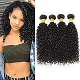 Bleaching Hair Makes It Thicker - Huarisi Peruvian Kinkys Curly Hair 4 Bundles 12 14 16 18 Peruvian Human Hair Extensions 100% Unprocessed Virgin Jerry Curls Weave 400g for Full Head