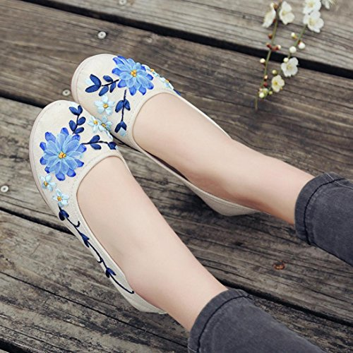 VEMOW Sports Outdoor Shoes for Women, Trainers Mary Janes Cute Lace-up Flats Flip Flops Thongs Espadrilles Wedge Running Walking, of National Style Flax Embroidered Rib Bottom White