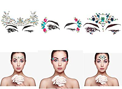 ZLXIN Face Gems Temporary Tattoo Stickers Acrylic Crystal Glitter Stickers Waterproof Face Jewels Rainbow Tears Rhinestone Eye Decoration for Party, Rave Festival, Dress-up (6 Pcs A Set)