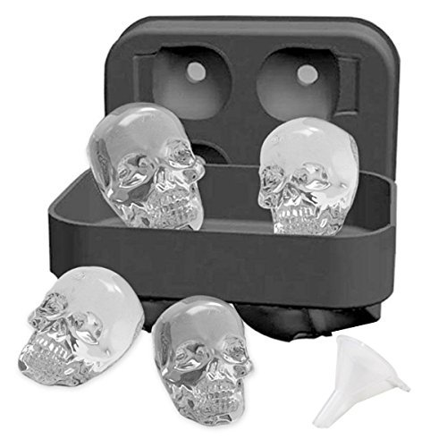 WKMR 3D Skull Ice Cube Tray mold with Lid, food-safe silicone makes four delicate skulls freezer for Your Whisky or, Scotch, Cocktail and Liqueur Glasses-Black, shape the skull ice cube.BPA Free.