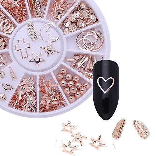 (Rose Gold Rhinestones Rivet Studs 3D Nail Art Decoration In Wheel Steel Bead U (color - #3))