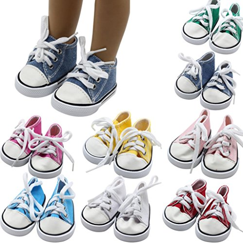 PrettyW Doll Clothes for 18 Inch Dolls - Canvas Lace Up Sneakers Shoes for 18 American Girl & Boy Dolls