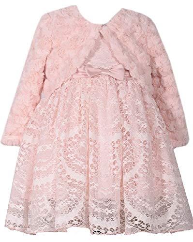 (Bonnie Jean Baby Girls Dusty Pink Size 12M-24M Fur Lace Dress Set (12M))