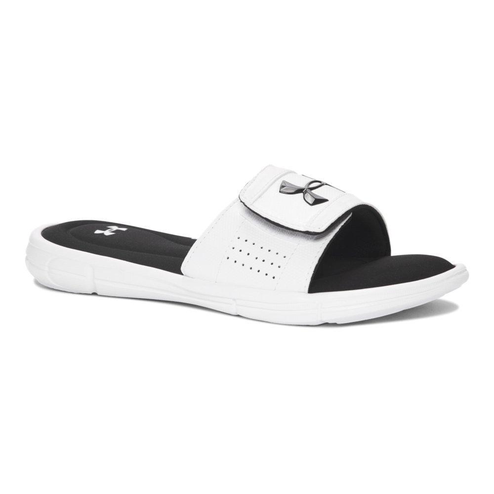 Under Armour Boys' Ignite V Slide Sandal, White (100)/Black, 1 M US Little Kid