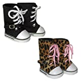 Two Pair of Trendy Knee-High Sneakers. Black and Animal. Doll Shoes Fit 18″ American Girl Dolls., Baby & Kids Zone
