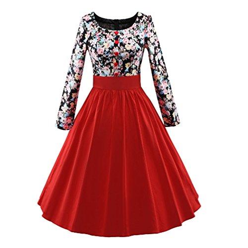 YouPue Damen Floral Lange Ärmel Kleid 1950s Vintage Partei Kleid ...