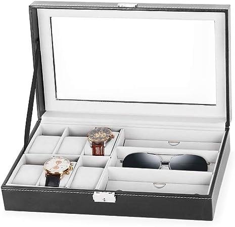 HEOMU Caja de Reloj Relojes de Cuero de PU Almacenamiento para 6 Relojes y 3 anteojos con Llaves: Amazon.es: Hogar