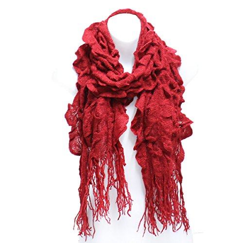 AN- Womens Fashion Ruffle Scallop Puff Knit Scarf with Fringe (Red-15) - Puff Fringe
