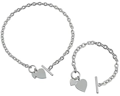 22587bbed Sterling Silver Necklace and Bracelet Set with Double Heart Tag with Bar  and Ring (Toggle) Fastening: Amazon.co.uk: Jewellery
