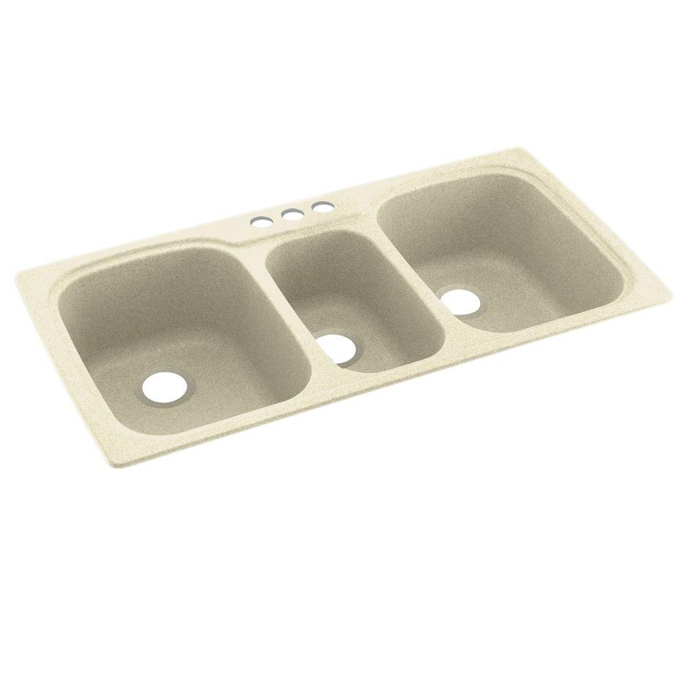 Swanstone KS04422TB.037-3 3-Hole Solid Surface Kitchen Sink, 44'' x 22'', Bone